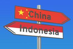 China and Indonesia conflict concept, 3D rendering Stock Illustration