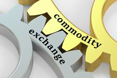 Commodity Exchange concept on the gearwheels, 3D rendering Stock Illustration