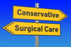 Conservative or surgical care concept, 3D rendering Stock Illustration