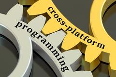 Cross-platform Programming concept on the gearwheels, 3D rendering Stock Illustration