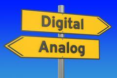 Digital vs Analog concept, 3D rendering Stock Illustration