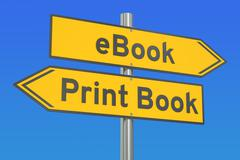 EBook vs Print Book concept, 3D rendering Stock Illustration