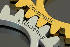 Economic efficiency concept on the gearwheels, 3D rendering Stock Illustration
