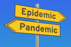Epidemic vs pandemic concept on the road signpost. 3D rendering Stock Illustration