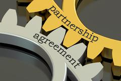 Partnership Agreement concept on the gearwheels, 3D rendering Stock Illustration