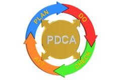 PDCA, Plan Do Check Act concept. 3D rendering Stock Illustration
