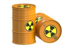 Radioactive barrels, 3D rendering Stock Illustration