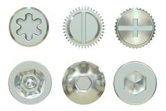 Screw and Bolt heads, 3D rendering Stock Illustration