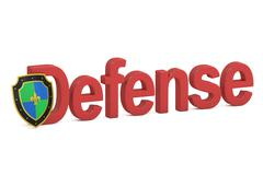 Defense concept with shield, 3D rendering Stock Illustration