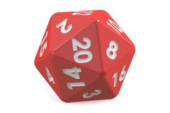 Red twenty-sided die, 20 sides. 3D rendering Stock Illustration