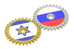 Russia and Israel relations concept, flags on a gears. 3D rendering Piirros