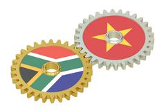 South Africa and Vietnam relations concept, flags on a gears. 3D rendering Stock Illustration