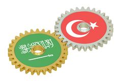 Turkey and Saudi Arabia relations concept, flags on a gears. 3D rendering Stock Illustration