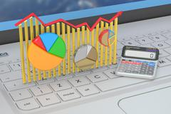 Business finance, banking and statistic concept on the laptops keyboard, 3D r Stock Illustration