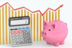 Calculating Savings concept, 3D rendering Stock Illustration