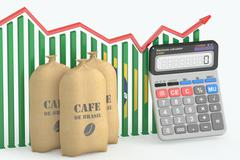 Coffee price and export concept, chart with calculator and Brazilian coffee b Stock Illustration
