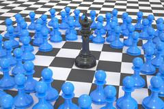 Chess, winner and leader concept. 3D rendering Stock Illustration