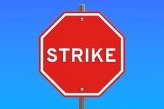 Strike road sign, 3D rendering Stock Illustration