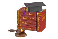 Graduation Hat with Judge Gavel and Books, Law Education Concept, 3D renderin Stock Illustration