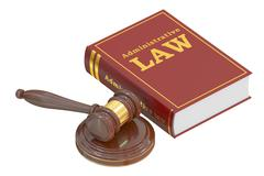 Administrative Law concept with gavel. 3D rendering Stock Illustration