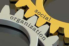 Social Organization concept on the gearwheels, 3D rendering Stock Illustration