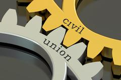 Civil union concept on the gearwheels, 3D rendering Stock Illustration