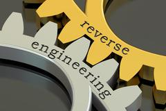 Reverse engineering concept on the gearwheels, 3D rendering Stock Illustration