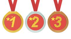 Gold, Silver and Bronze medals with China flag, 3D rendering Stock Illustration