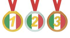 Gold, Silver and Bronze medals with Italy flag, 3D rendering Stock Illustration