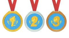 Gold, Silver and Bronze medals with Kazakhstan flag, 3D rendering Stock Illustration