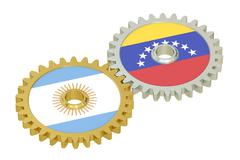 Argentina and Venezuela relations concept, flags on a gears. 3D rendering Stock Illustration