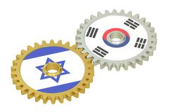 Israel and South Korea flags on a gears, 3D rendering Piirros
