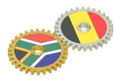 South Africa and Belgium relations concept, flags on a gears. 3D rendering Stock Illustration