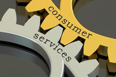 Consumer services concept on the gearwheels, 3D rendering Stock Illustration