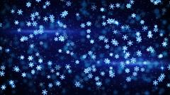 Blue glowing christmas snowfall loop 4k (4096x2304) Stock Footage