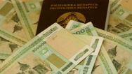 Passport of Belarus with rubles Stock Footage