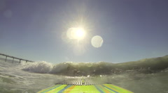 POV of a woman sup stand-up paddleboard surfing at the beach. Stock Footage