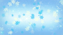 Blue festive snowflakes and stars loopable background 4k (4096x2304) Stock Footage