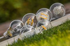 LED, halogen and tungsten bulbs on solar panel, some on the grass Stock Photos