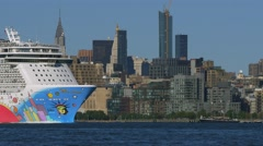 Close up of Cruise liner Norwegian breakaway cruising in Hudson River with Stock Footage