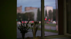 The Windows overlook the street of the city Stock Footage