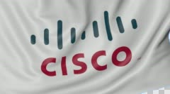 Close up of waving flag with Cisco Systems logo, seamless loop, blue background Stock Footage