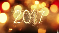 Sparkler text animation new 2017 year greeting 4k (4096x2304) Stock Footage