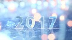 2017 greting and christmas lights seamless loop 4k (4096x2304) Stock Footage