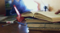 Man reading old book close-up education turns the page video Stock Footage