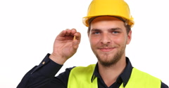 Positive Young Worker Man Looking Camera Happy Showing Solid Pure Gold Nugget Stock Footage