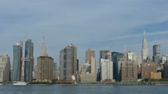 New York City Waterfront, Empire State Building and Chrysler Building, NYC Stock Footage