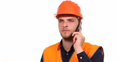 Young Worker Man Construction Industry Talk Smart Telephone Security Protection Stock Footage