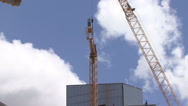 Construction crane installation Stock Footage