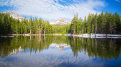 Timelapse of Perfect Reflection at Calm Alpine Lake in Yosemite -Zoom In- Stock Footage
